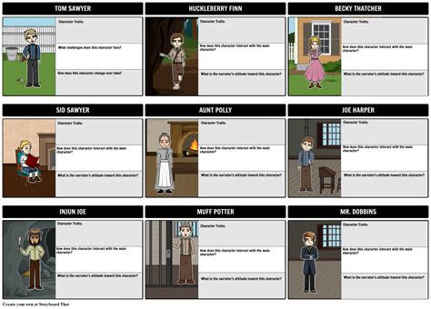 The Adventures of Tom Sawyer Character Map Storyboard
